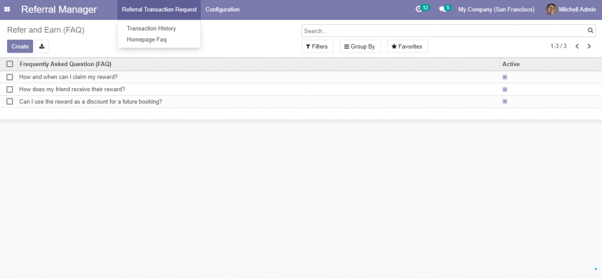 Odoo website refer and earn fAQ creation page