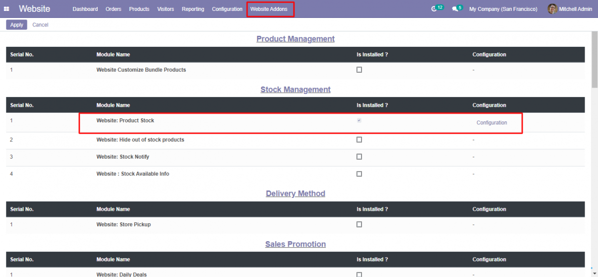 Image showing where to find Odoo website product stock configuration.