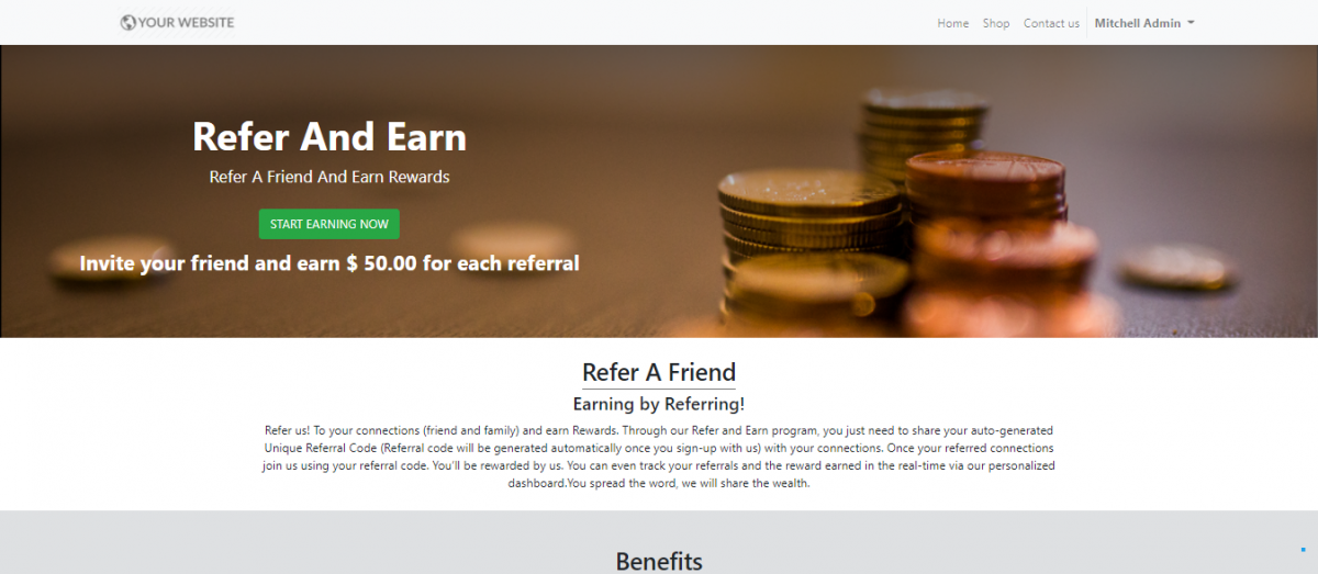 display of Refer and earn page on website