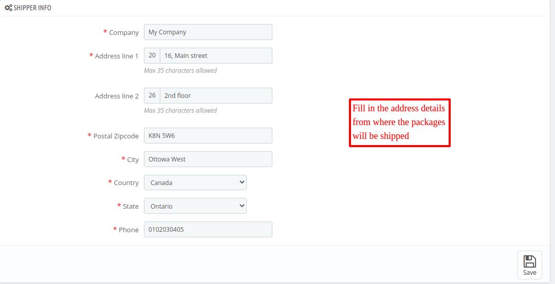 Configure PrestaShop Canada Post Shipping module