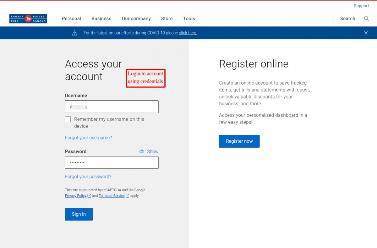 Login using account details