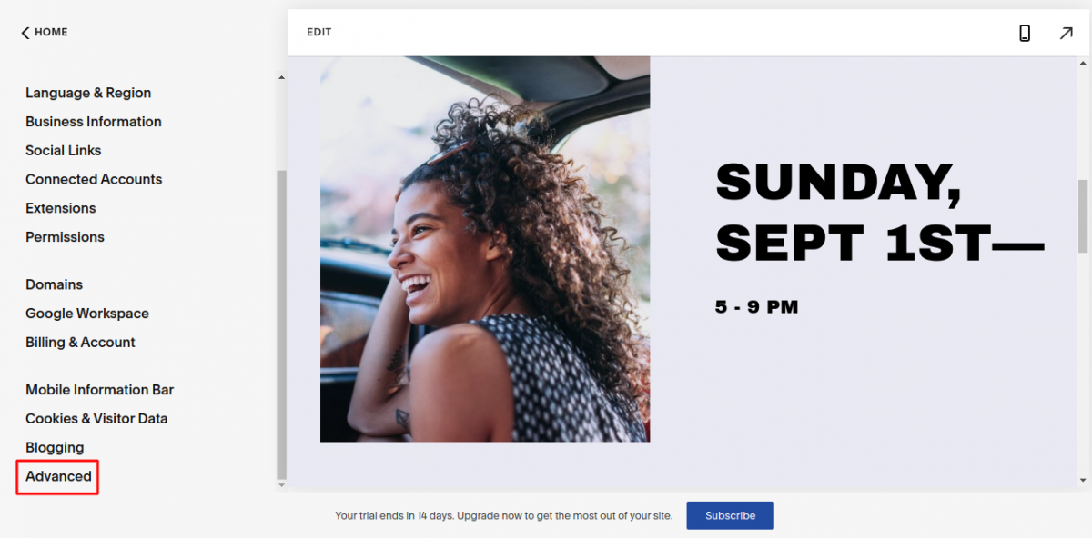 Squarespace Connector settings