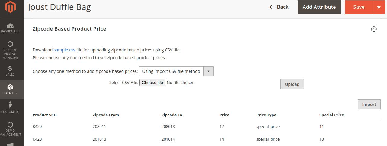 CSV file upload