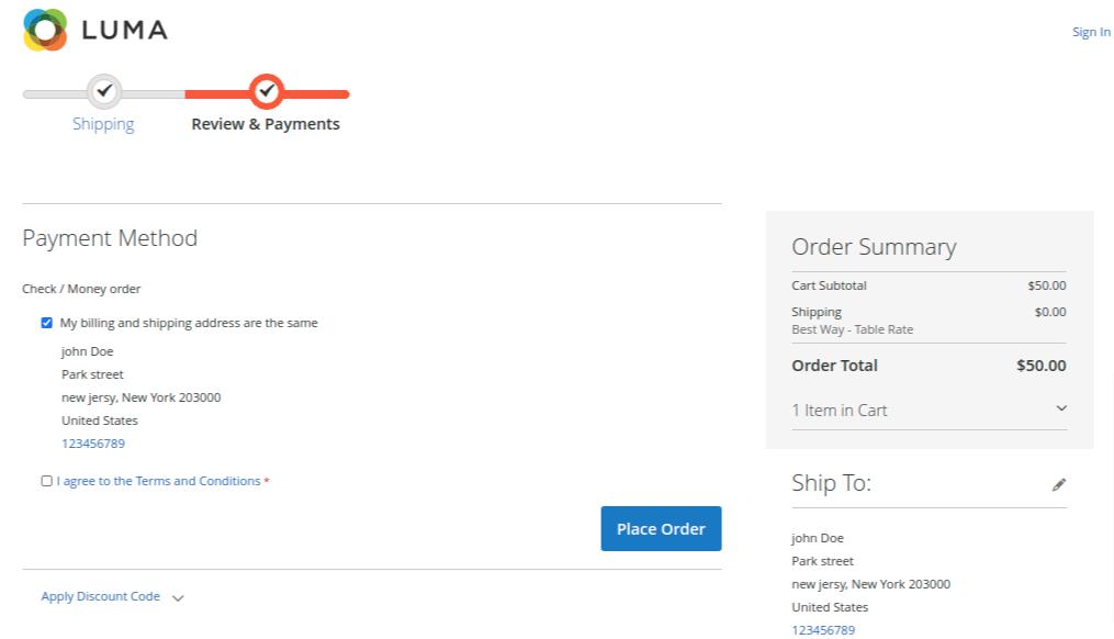zipcode payment method