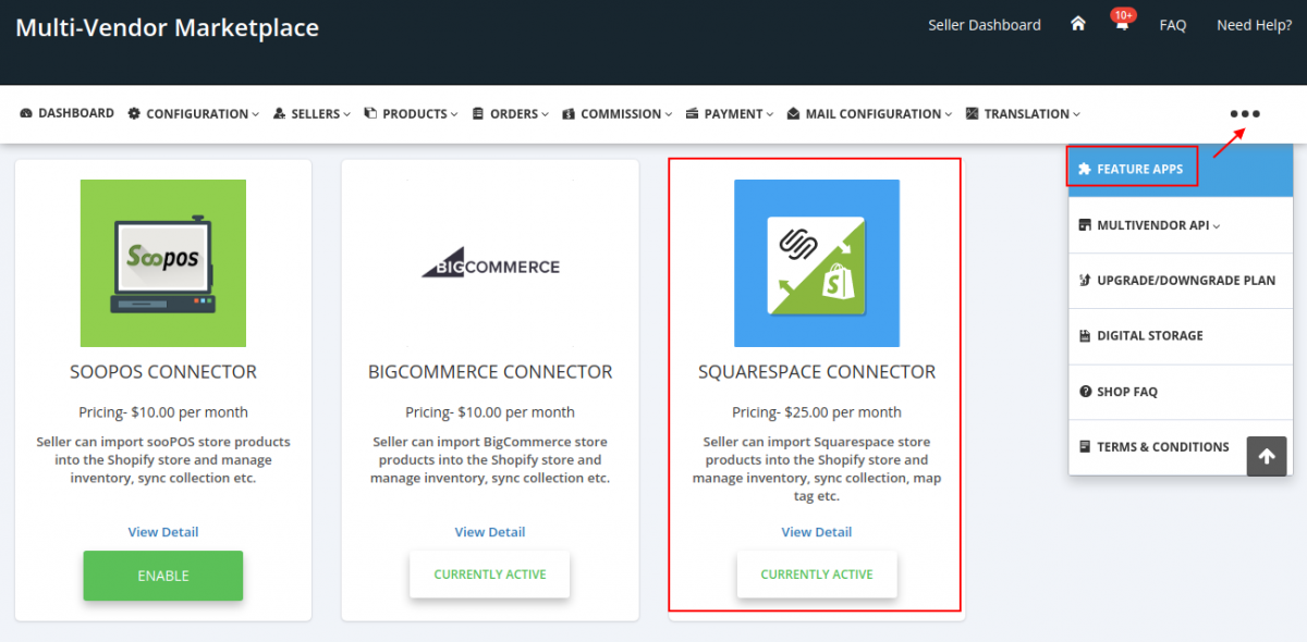 Squarespace Connector feature app
